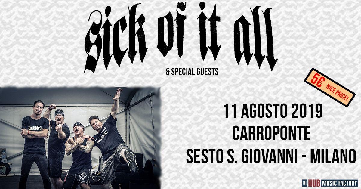 Sick of It All, locandina concerto 11 agosto al Carroponte